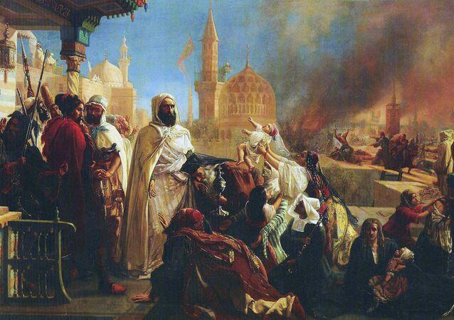 Tableau représentant l'émir Abdelkader, protégeant les chrétiens à Damas en 1860, lors des massacres commis par les Druzes