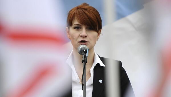 In this photo taken on Sunday, April 21, 2013, Maria Butina, leader of a pro-gun organization in Russia, speaks to a crowd during a rally in support of legalizing the possession of handguns in Moscow, Russia - Sputnik France
