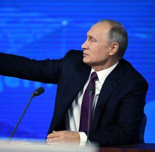 Vladimir Poutine au cours de la grande conférence de presse annuelle le 20 décembre 2018