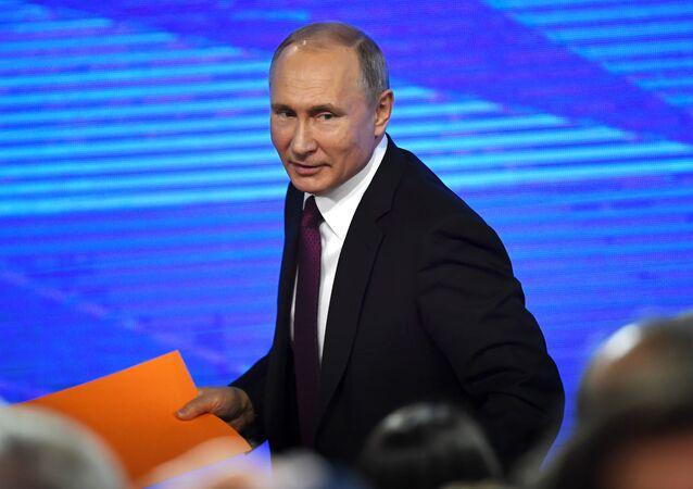 20 декабря 2018. Президент РФ Владимир Путин на четырнадцатой большой ежегодной пресс-конференции в Центре международной торговли на Красной Пресне.