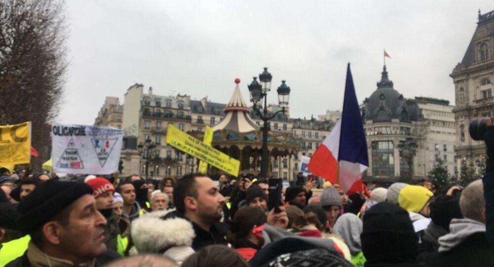 Des Gilets jaunes lors de l'acte 8 à Paris