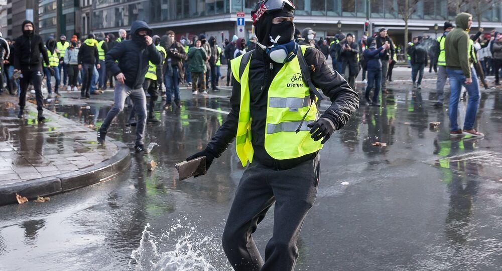 Une manifestation des Gilets jaunes en Belgique