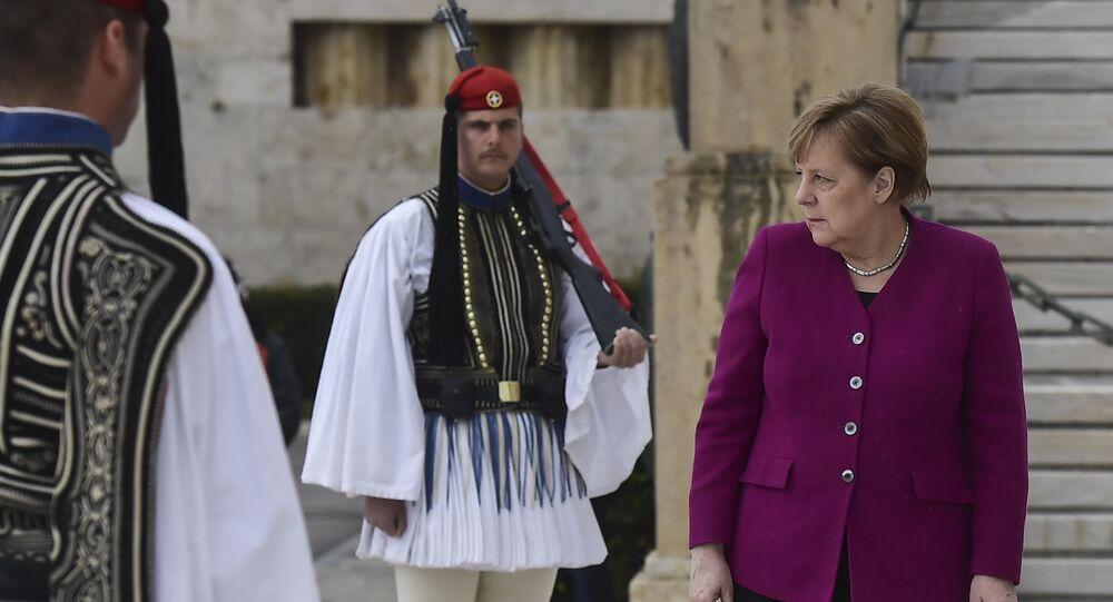 Angela Merkel lors de sa visite officielle en Grèce