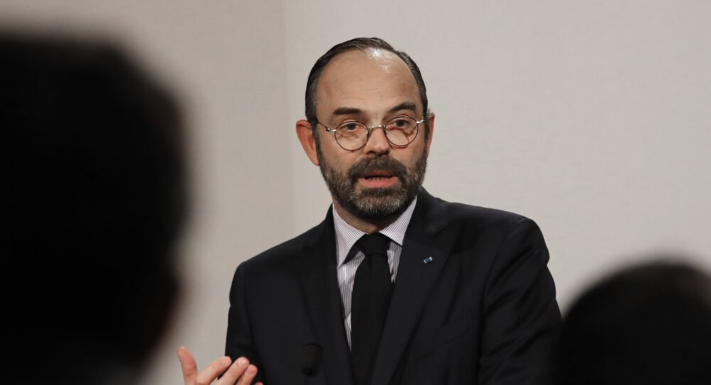 French Prime Minister Edouard Philippe delivers his speech during a press conference in Paris, Wednesday, Jan. 9, 2019.
