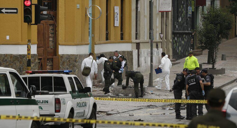 La police colombienne sur les lieux d'une explosion à Bogota (archive photo)