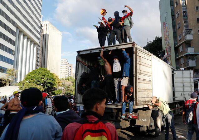 Une action de protestation au Venezuela (23 janvier 2019)