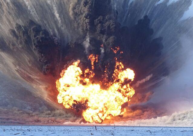 explosion contrôlée sur le réservoir de Boureïa, en Sibérie