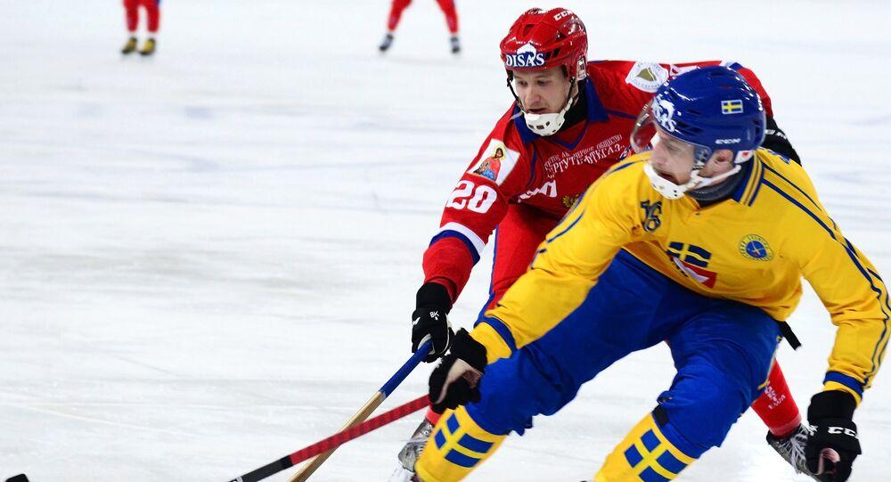 Un match Russie-Suède en championnats du monde de bandy