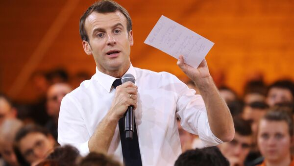 French President Emmanuel Macron speaks during a meeting with youths as part of the great national debate in Etang-sur-Arroux, central France, February 7, 2019 - Sputnik France