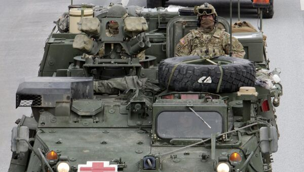Показательный марш военнослужащих армии США Dragoon Ride в Латвии - Sputnik France