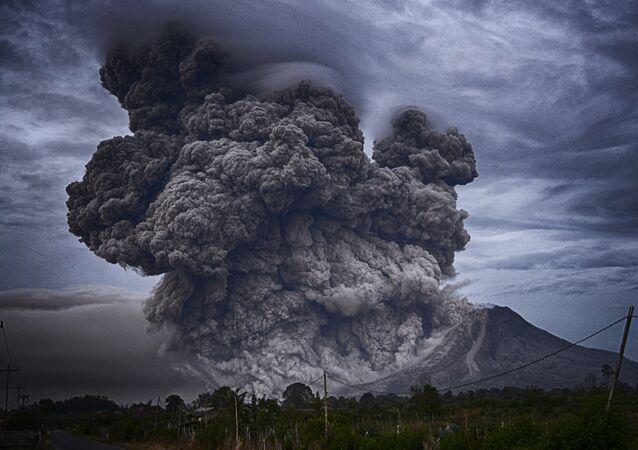 L'éruption du volcan, imade d'illustration