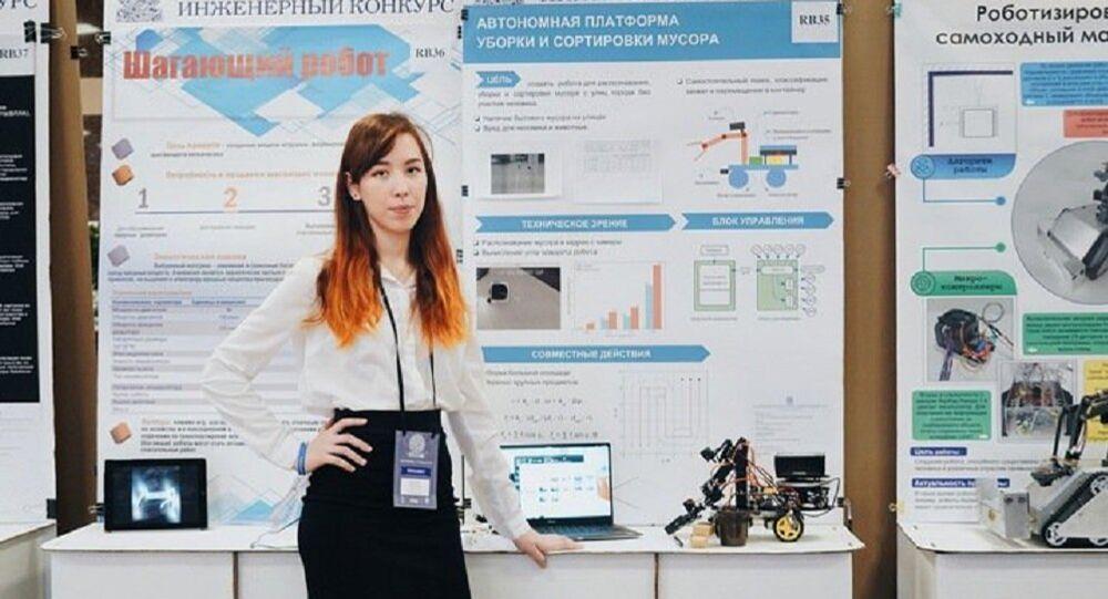 Elizaveta Prichliak, écolière de Sibérie, qui a construit un robot-éboueur