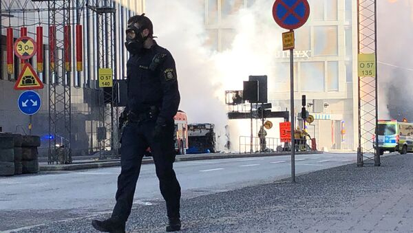 The site where a bus exploded and caught fire is seen in Tegelbacken in central Stockholm - Sputnik France