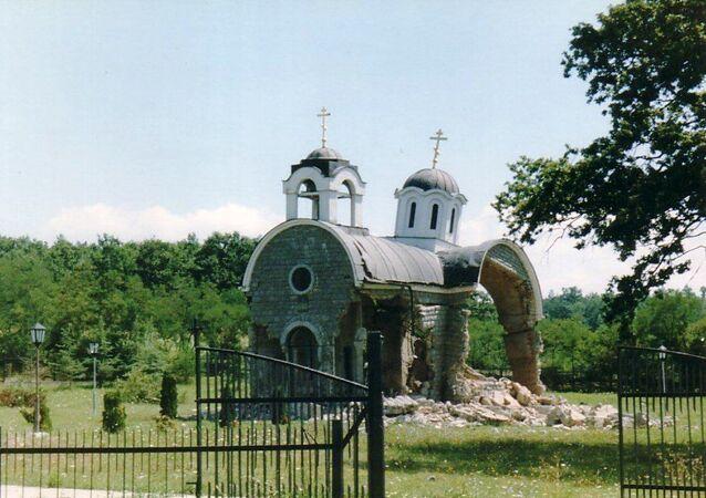 Une église détruite, Kosovo