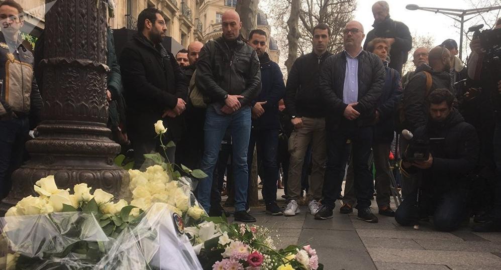 Rassemblement en hommage à Xavier Jugelé, policier tué en 2017 par un terroriste sur les Champs-Elysées