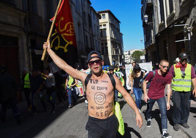 une manifestation des Gilets jaunes lors l'acte 19 à Montpellier