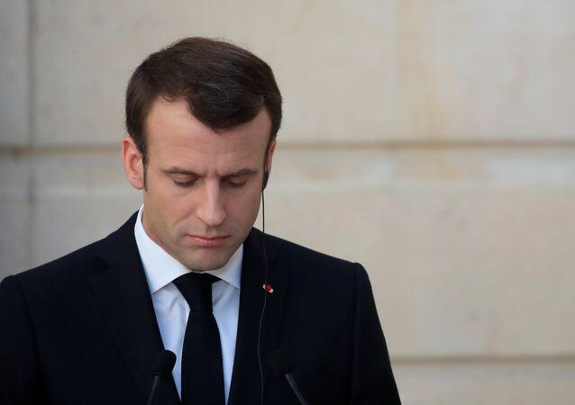 Emmanuel Macron à une conférence de presse