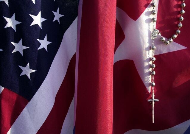 Drapeaux des USA et de Cuba