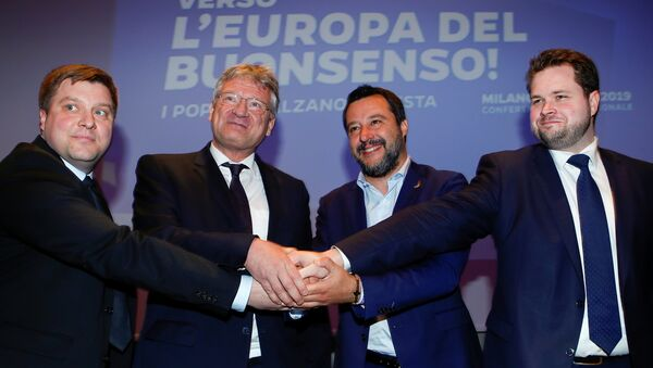 Matteo Salvini, Olli Kotro, Joerg Meuthen et Anders Vistisen - Sputnik France
