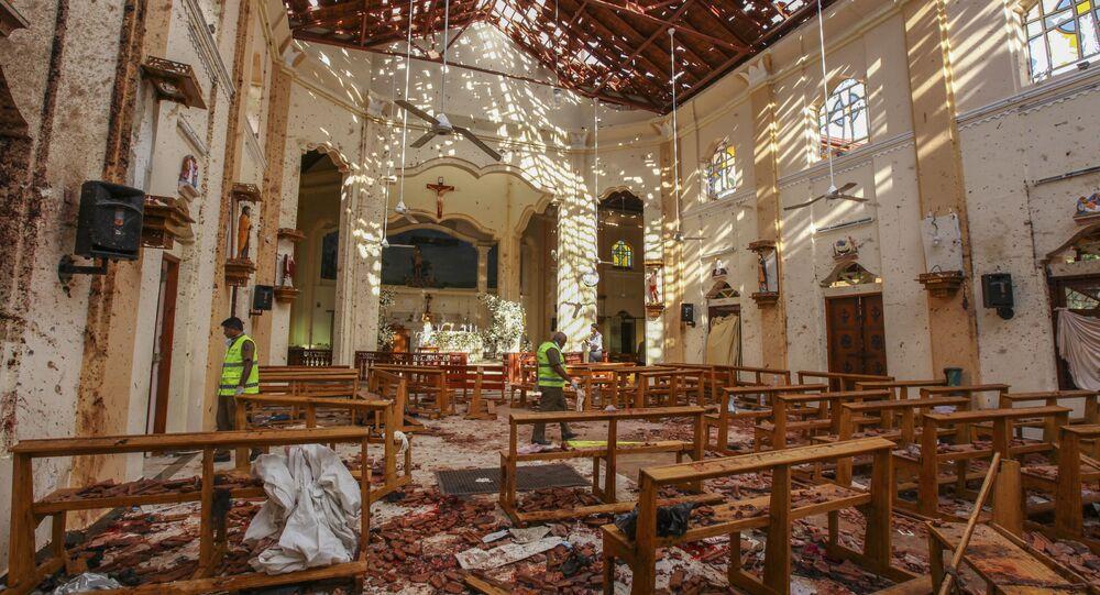 L'église Saint-Sébastien endommagée par l'explosion à Negombo, au nord de Colombo