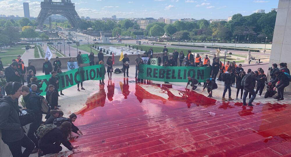 Une action d'Extinction Rébellion contre «l'anéantissement du monde vivant» à Paris, le 12 mai