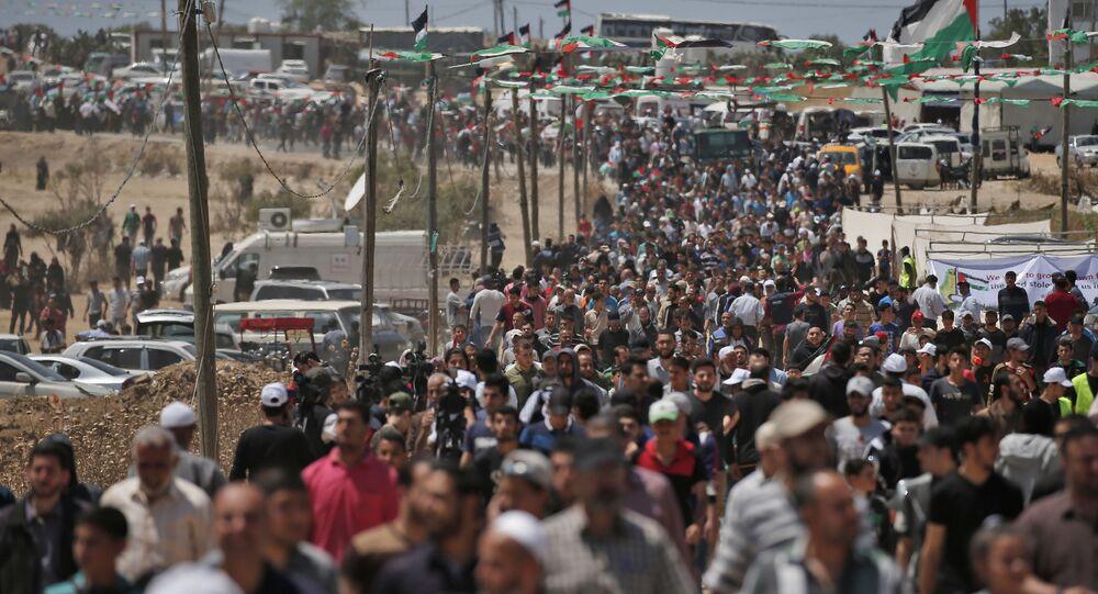 La «Grande marche du retour» dans la bande de Gaza (15 mai 2019)