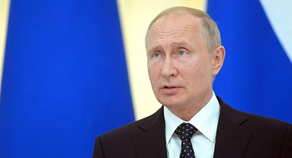 Vladimir Poutine lors d'une conférence de presse conjointe avec le Président autrichien Alexander Van der Bellen