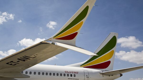 The winglet of an Ethiopian Airlines Boeing 737 Max 8 is seen as it sits grounded at Bole International Airport in Addis Ababa, Ethiopia Saturday, March 23, 2019 - Sputnik France