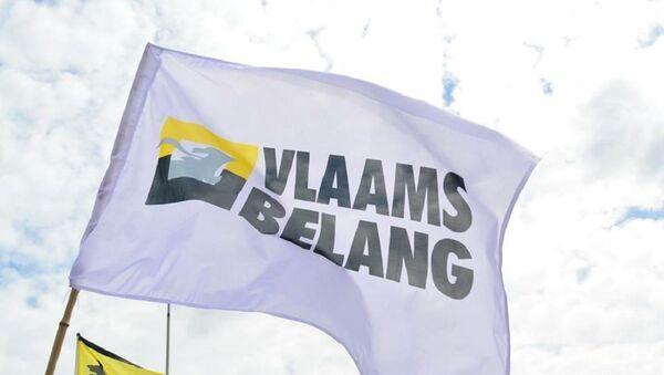 Flag with official logo Vlaams Belang. (File) - Sputnik France