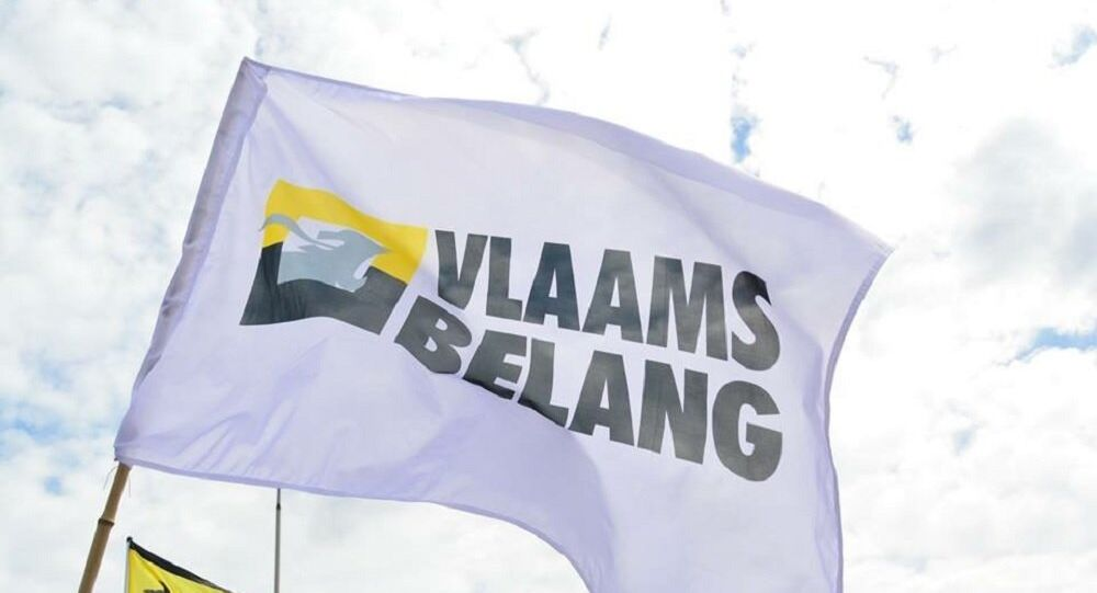 Flag with official logo Vlaams Belang. (File)