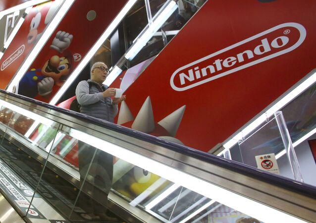 Le logo de Nintendo dans un magasin à Tokyo