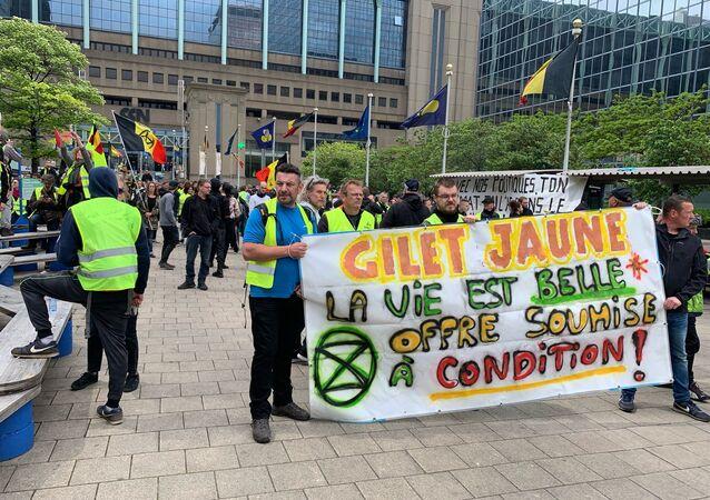 Une manifestation des Gilets jaunes à Bruxelles