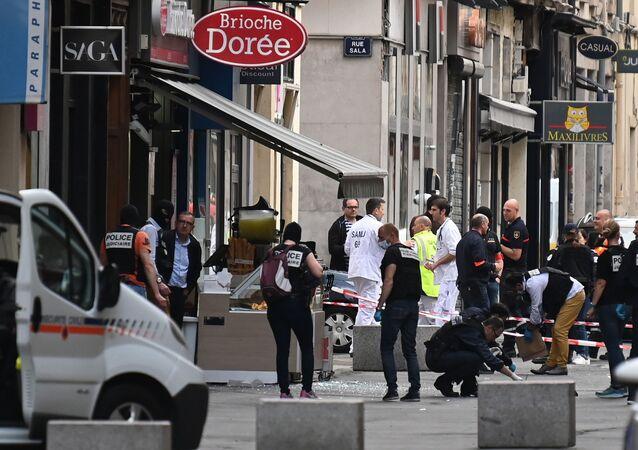 La police à Lyon après l'attentat à l'explosif du 24 mai 2019
