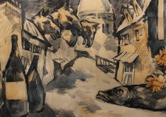 Oscar Rabine. Rue des Pyrénées 1981 (41 cm x 57 cm, technique mixte sur papier), de la collection de Kira Sapguir (détail)