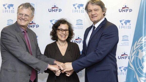 L'Unesco, IRIS et Positive Football lors du déjeuner de presse au siège de l'Unesco à Paris, le 23 mai 2019. - Sputnik France