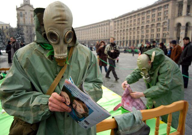 Des militants du Parti vert ukrainien à Kiev