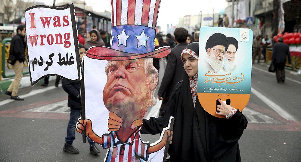 Une Iranienne à l'effigie du Président  Donald Trump