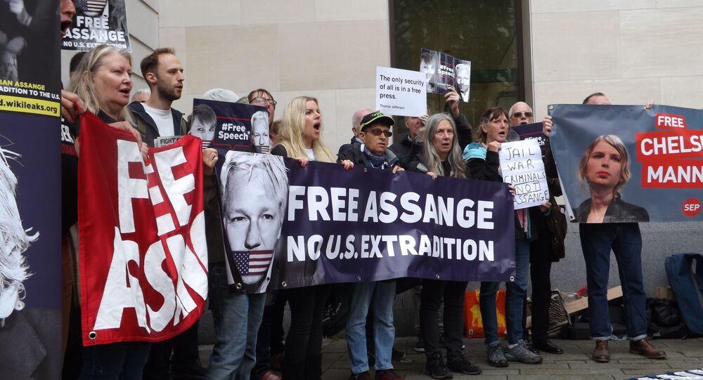 Protestation contre l'extradition de Julian Assange vers les USA, le 14 juin 2019 à Londres