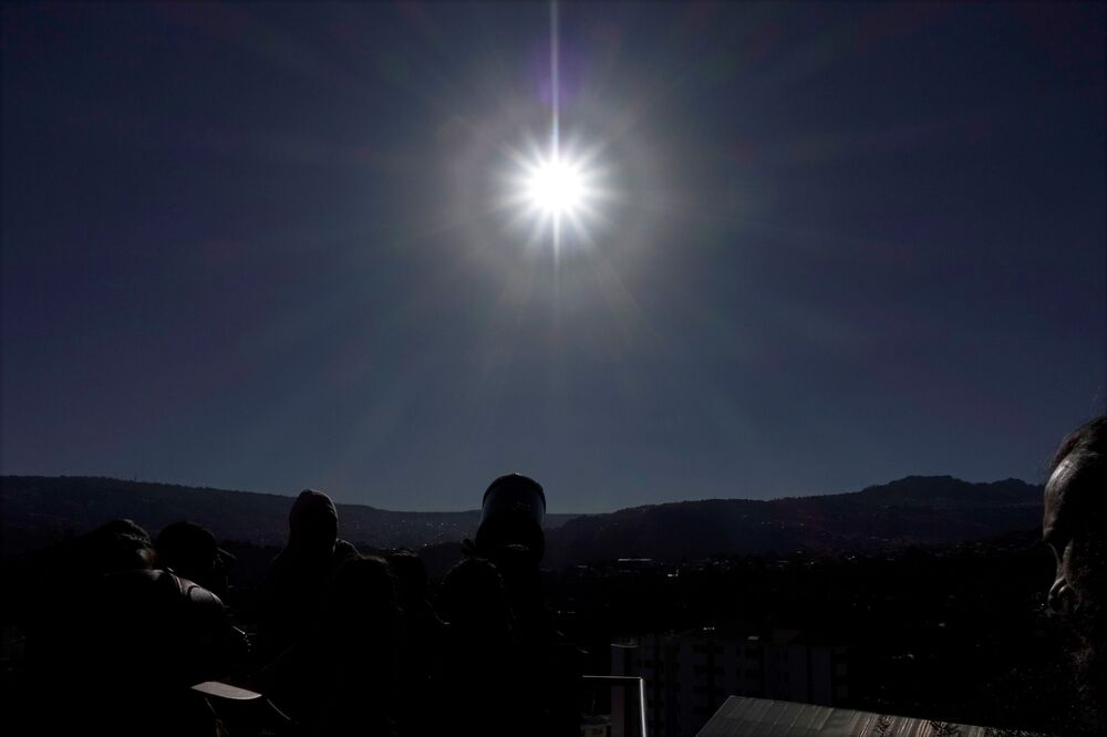 People view the total solar eclipse in La Paz, Bolivia, July 2, 2019