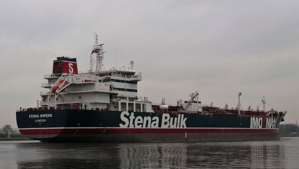 This handout photo received on July 19, 2019 courtesy of Nico Kemps shows the Stena Impero, a British-flagged tanker, off the coast of Amsterdam on December 26, 2018. - Sputnik France