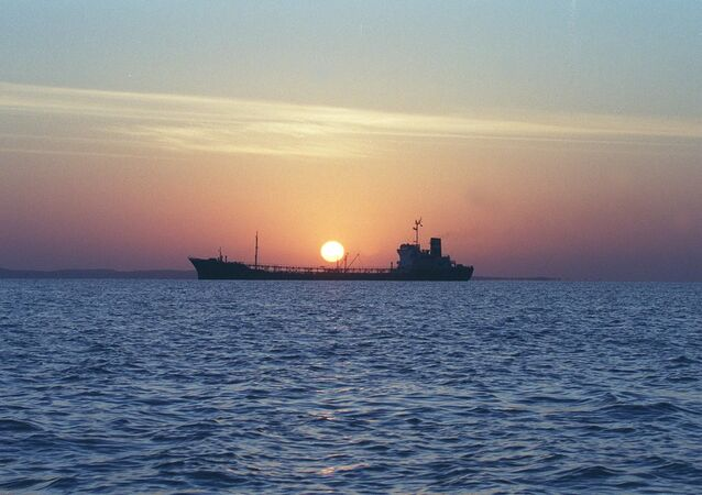 An Iranian water storage tanker sails off the coast of Qeshm Island 14 February 2001 in the Strait of Hormuz