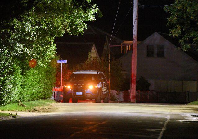 Une voiture de police près de la résidence familiale des Kennedy à Hyannis Port, Massachusetts
