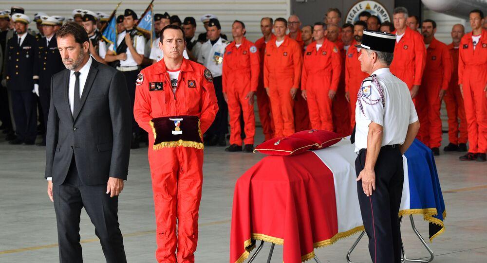 Christophe Castaner lors d'une cérémonie d'hommage à Franck Chesneau