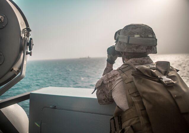 Détroit d'Ormuz,  photo publiée par la Marine américaine le 18 juillet 2019