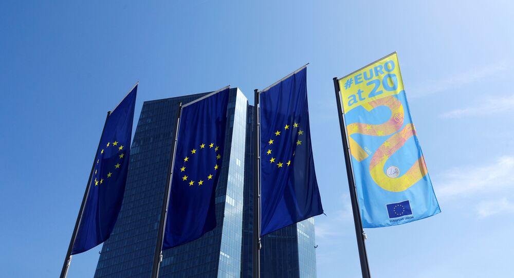 Devant le siège de la Banque centrale européenne