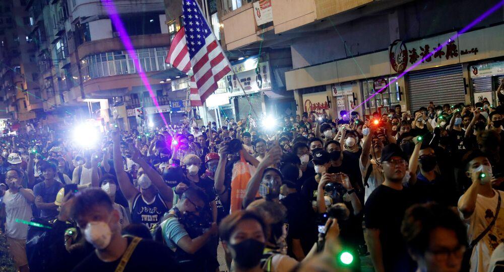 Des manifestants à Hong Kong, le 14 août 2019