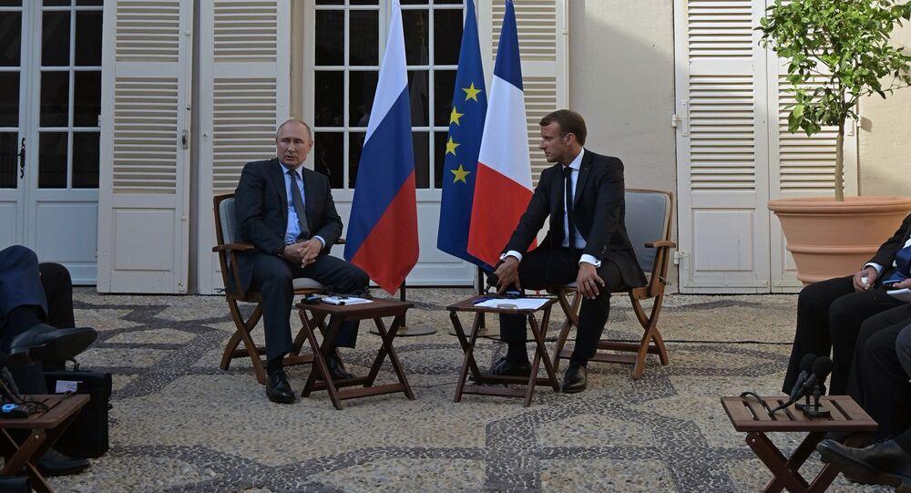 Vladimir Poutine reçu au fort de Brégançon par Emmanuel Macron