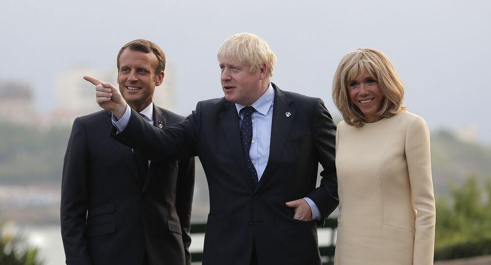 Emmanuel Macron, Brigitte Macron et Boris Johnson