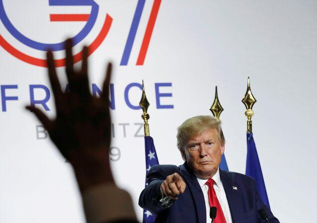 Donald Trump lors d'une conférence de presse au sommet du G7 à Biarritz