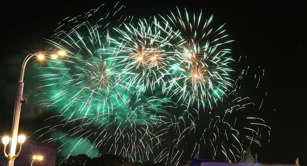 Feu d'artifice pour le 872e anniversaire de Moscou